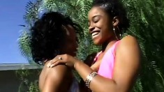 A fresh ebony babe gets introduced to the sexy world of lady loving