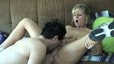 Kinky MILF takes her daughter's boyfriend for a balls deep ride