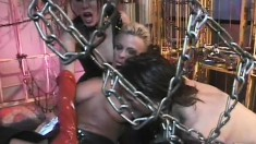 Stacked bondage divas get on the BDSM sex swing for a stud's machete