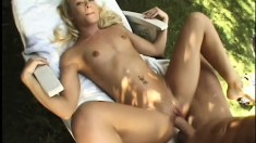 Sexy slim blonde gets her wet peach eaten out and pounded deep outside