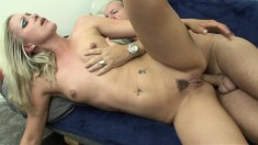 Nasty babe Angel Long takes a dick up her ass and swallows a huge load