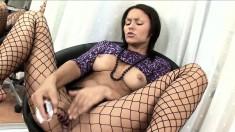 Big breasted hottie in sexy lingerie Marissa Cruz fucks a glass dildo