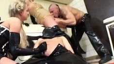Kinky babes in latex Sabine and Adrien get banged rough by a hung guy