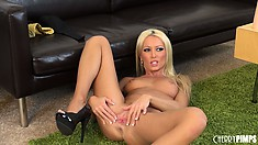 Diana Doll gives a nasty blowjob to a toy before getting freaky