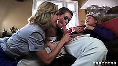 Naughty brunette runaway pays for her rebellion with a mature couple threesome