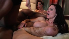 Luscious milfs Kendra Lust and Jada Stevens have fun with a black guy