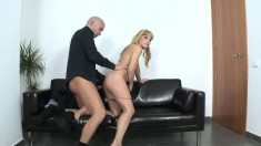 Adorable young blonde reveals her hot body and fucks a cock in casting