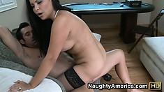 Sophia jumps on top of that huge shaft eager to fulfill her sexual desires