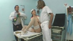 Irresistible nurse in white stockings gets her cunt licked and fucked