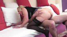 Busty granny eats his rod and gets that snake pounding her twat