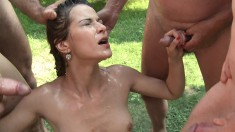 Naughty Young Girl Loves Handling A Bunch Of Cocks And Getting A Facial