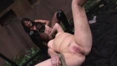 Beautiful slave Rita Cross has a busty dominatrix fulfilling her needs
