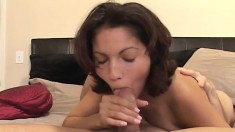 Dazzling brunette amateur blows a cock and swallows every drop of cum