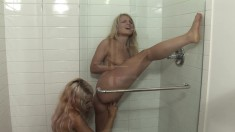 Two Bodacious Blondes Playing Out Their Lesbian Fantasy In The Shower