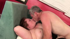 Chubby and lustful Julie loves to work her pussy lips on a hard prick