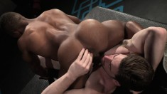 Pretty black boy has a white guy drilling his tight ass deep and rough