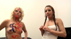 Shana Lane invites a cute blonde and a hung stud for a wild experience