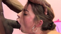 Hot brunette Bunny Freedom gets her mouth and pussy stretched by a big black cock