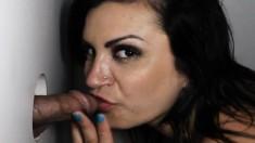 Busty Brunette Slut Courtni Swallows A Heavy Cumload At The Gloryhole
