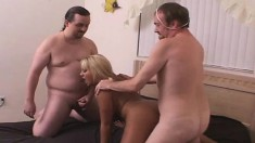 Bodacious Blonde Beauty Jasmine Enjoys Her Time With Two Horny Studs