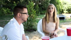Beautiful Rachel Seduces A Nerdy Boy To Drill Her Honey Hole Outside