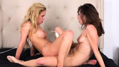 Blonde And Brunette Lesbians Indulge In Intense Fingering And Toying