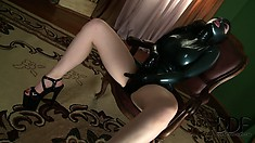 Nearly perfect bitch in intricate outfit and high-heels hoses her hole