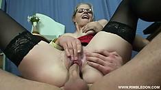 Busty blonde secretary Alana has three guys fulfilling her wild office fantasies
