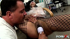 Female sex slave in fishnets is spanked hard and covered with semen