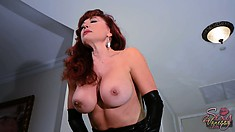 The seductive stacked Vanessa gently pleases her tight snatch with a huge dildo