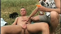 Hung European straightie gets fucked by a kinky twink outdoors