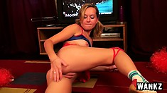 Cheerleading audition got Lorine so horny she decided to try anal play