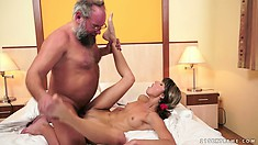 Hungry kitty needs a cock and gets one, but it's old and cums on her face