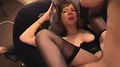 Kinky blonde milf with big boobs invites two horny studs to satisfy her desires