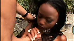 Cute voluptuous ebony witch likes sucking her white gentleman