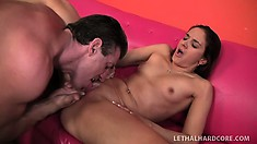 Pretty brunette Sheena reveals the perfect curves of her body and gets banged hard