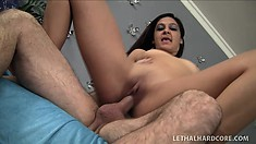 This naughty girl sucks her Step-dad's ass and cock for his birthday