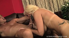 Blonde bombshell Isabella tongues her man's anal hole and then rides his hard cock