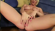 Blonde beauty with big tits India Summers has a huge black rod invading her peach
