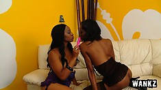 Imani and Dariel use a titillating dildo to deliver delicious orgasmic pleasure to their pussy