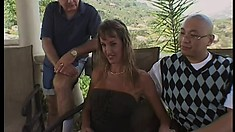 Mature slut Julie gives her juicy ass up to two horny older guys