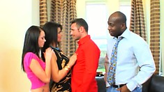 Dick-loving starlets get into a passionate interracial foursome