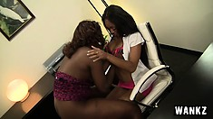 Evanni Solei gets a lap dance in office and makes out with the stripper