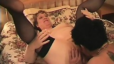 Mature BBW Lolly gobbles up his joint and gets drilled by a younger dude
