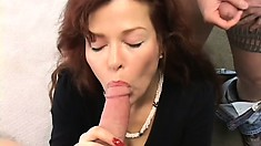 Fiery ginger MILF gets picked up and goes to town on two cocks