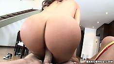 These horny Latinas chomp on his boner and take turns riding on it