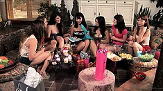 A group of hot babes get together and start sharing their wild fantasies and dreams