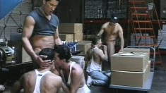 These hung and hard warehouse workers pound each other during break