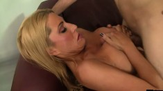 Horny stacked mature woman Jennifer gets busted by thick member