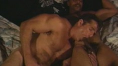 Hungry white dude gets some dark meat to feast on in a hotel